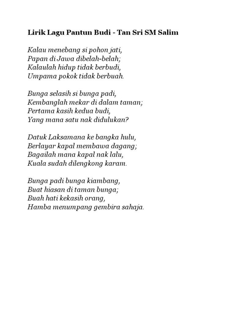 Lirik Lagu Pantun Budi