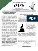 April 2009 OASis Newsletter Orange Audubon Society