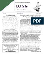 September 2009 OASis Newsletter Orange Audubon Society