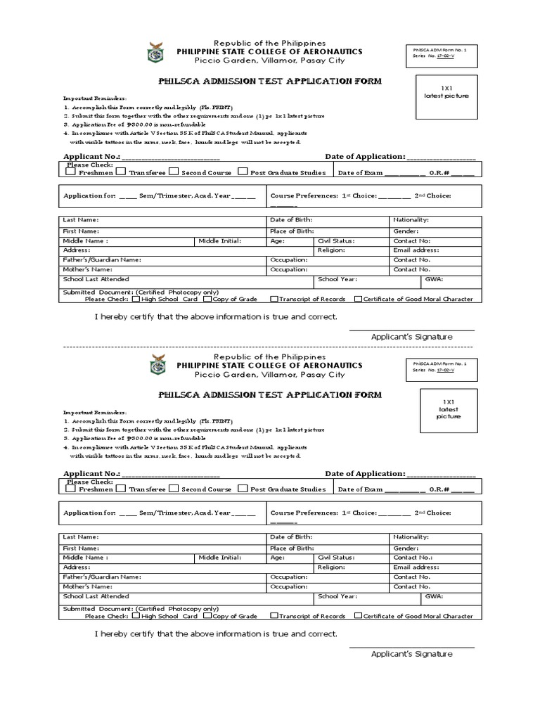 PhilSCA Admission Test Application Form | Test (Assessment