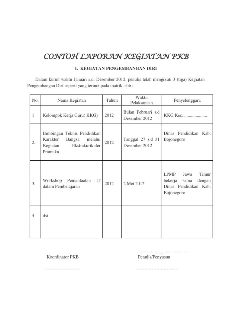 Contoh Laporan Kegiatan Pkb 2