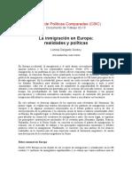 Inmigracion Europa Realidades y Politicas