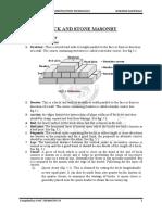 Unit - 5 Brick and Stone Masonry