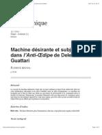 Machine désirante et subjectivité dans l'Anti-Œdipe de Deleuze et Guattari