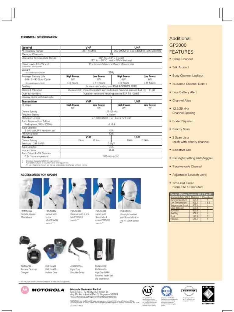Motorola-GP2000-VHF-UHF-1-4-5Watts-100251 | Microphone | Very High Frequency