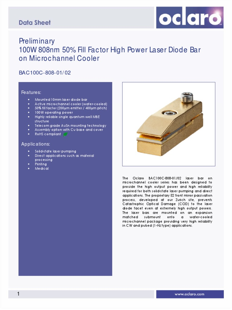 100w 808nm 50 Fill Factor High Power Laser Diode Bar Structure Of A