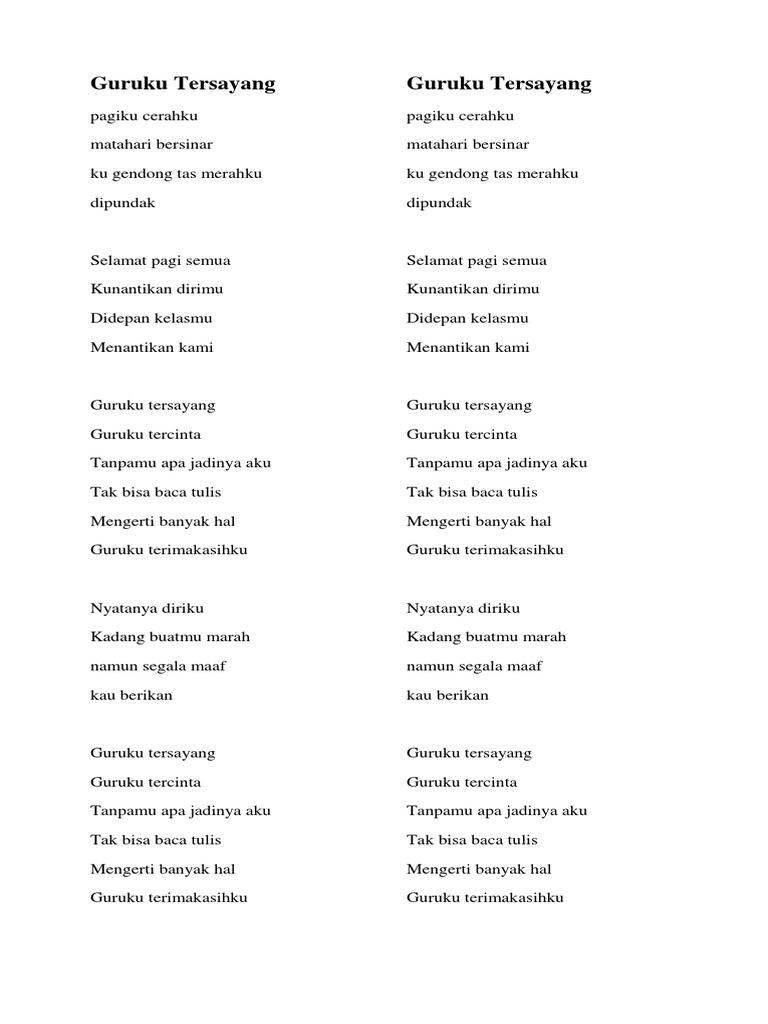 Lirik Lagu Guruku Tersayang - Terkini Banget