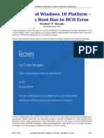 Uefi Based Windows 10 Platform Failure to Boot Due to Bcd Error