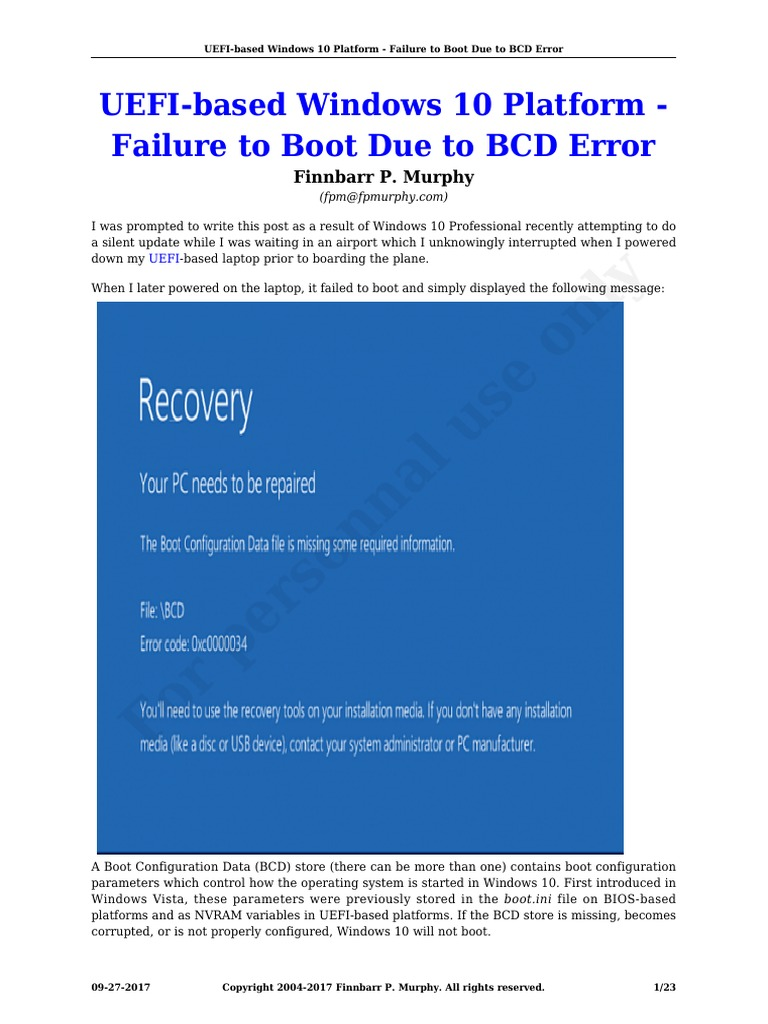 Uefi Based Windows 10 Platform Failure to Boot Due to Bcd