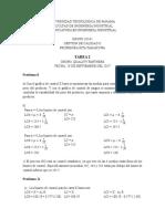 Problema 8 y 11. Libro Calidad total y productividad Gutierrez Pulido