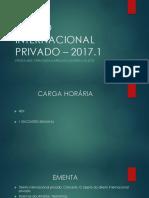 Direito Internacional Privado 2017 - Primeira Aula - Vespertino