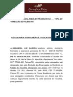 RECLAMAÇÃO TRABALHISTA - TUTELA DE EVIDENCIA