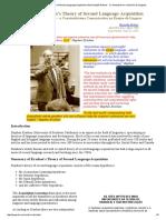 Stephen Krashen's Theory of Second Language Acquisition (Assimilação Natural - o Construtivismo No Ensino de Línguas)