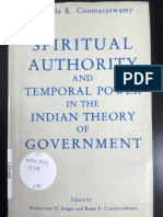 Spiritual Authority and Temporal Power in the Indian Theory of Government; Ananda K. Coomaraswamy
