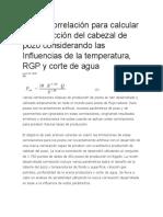 Nueva Correlación Para Calcular La Producción Del Cabezal de Pozo Considerando Las Influencias de La Temperatura