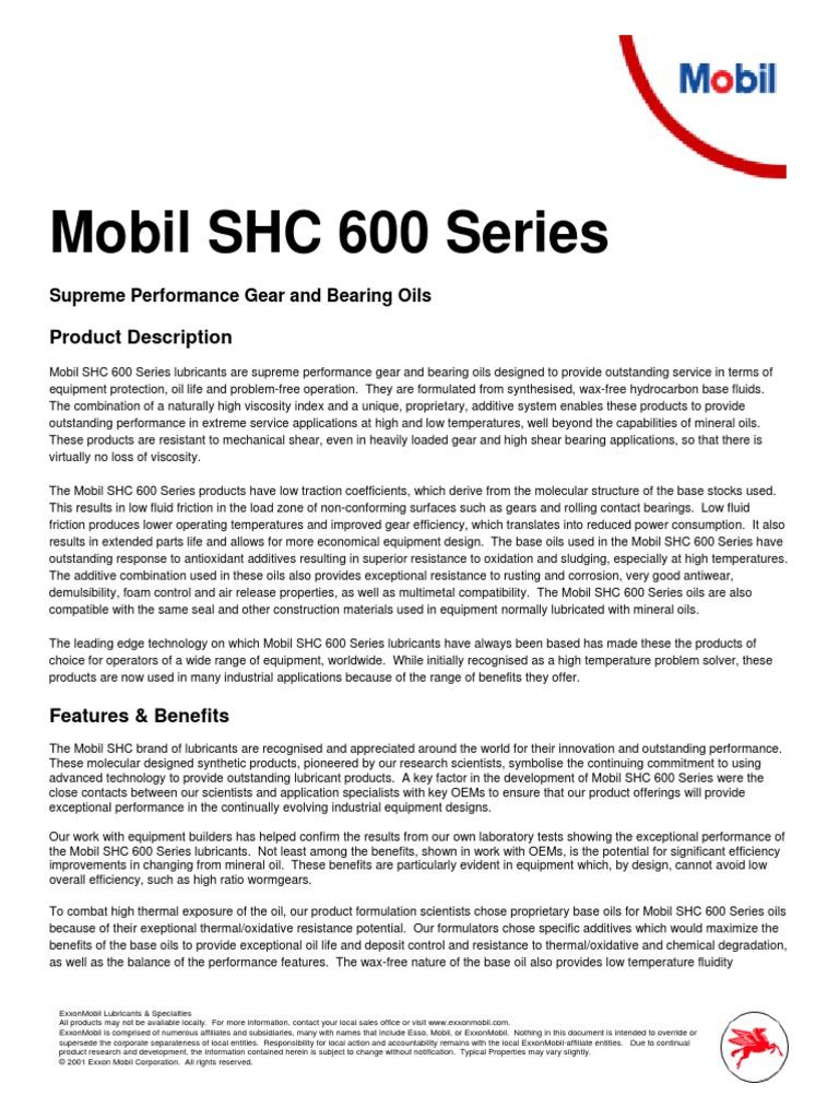 Mobil SHC 600   Exxon Mobil   Lubricant