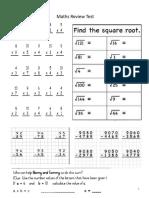 Maths Review Test