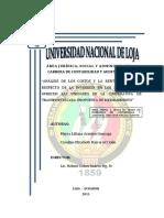 """TESIS   """"ANÁLISIS DE LOS COSTOS Y LA RENTABILIDAD CON RESPECTO DE LA INVERSIÓN EN LOS SERVICIOS QUE OFRECEN LAS UNIDADES DE LA COOPERATIVA DE TRANSPORTES LOJA. PROPUESTA DE MEJORAMIENTO"""""""