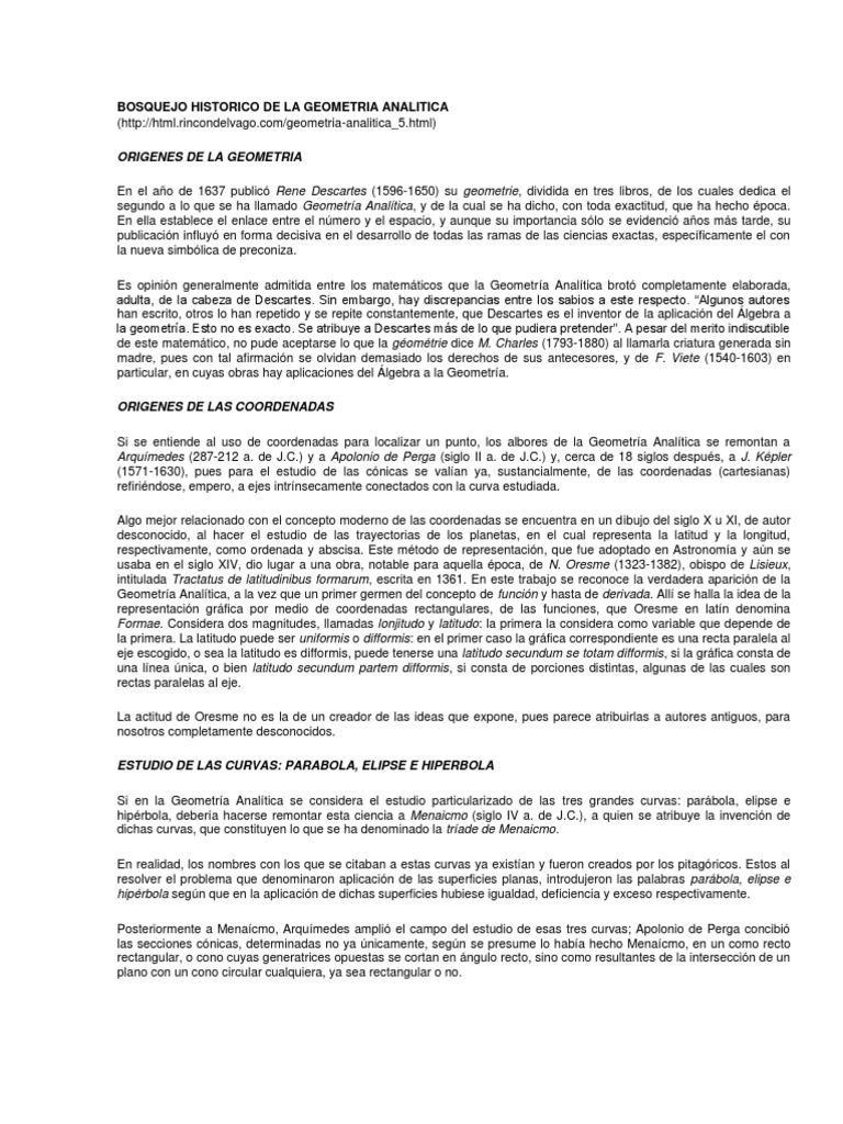 Bosquejo Historico De La Geometria Analitica