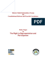 Policy Paper on the Right to Representation and Participation