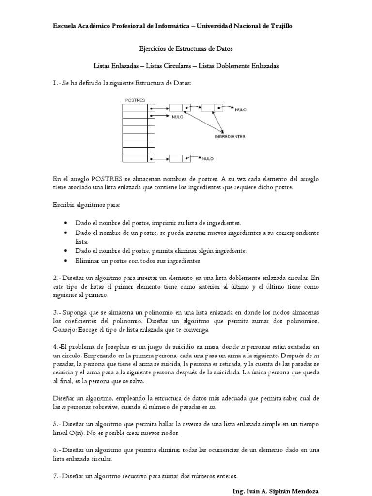 Ejercicios De Estructuras De Datos Ingeniería De Software