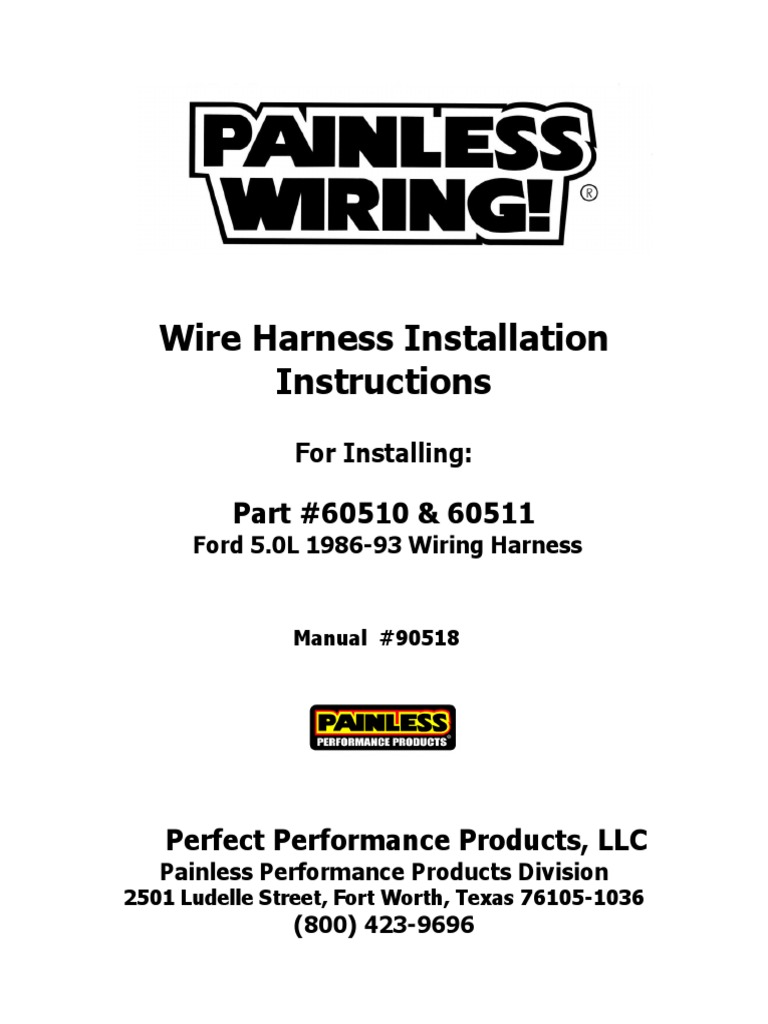 Painless 60510 Wiring Pinout Diagram Start Building A Gm Ac Fford Herness Throttle Electrical Connector Rh Scribd Com Column Harness