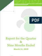 PTCL Quarter Report