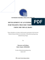 Development of an Expert System for Welding Process Verification Using MS Visual Basic - Sharaynee AP Krishnan - TS227.S52 2008 24 Pages