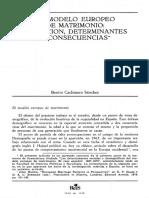 CACHINERO SÁNCHEZ-El Modelo Europeo de Matrimonio, Evolución, Determinantes i Conscuencias