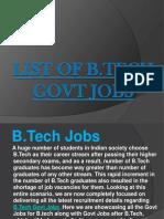 List of B.tech Govt Jobs