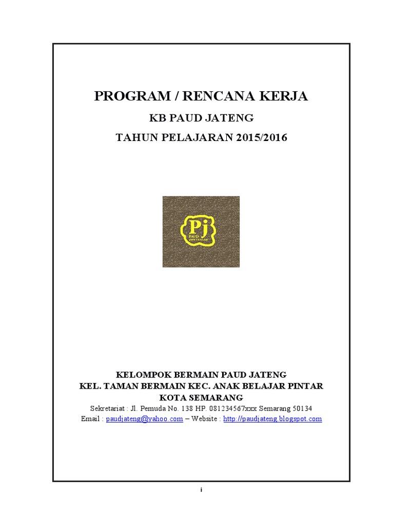 A 1 15 17 Program Rencana Kerja Paud Kb Tk Pdf