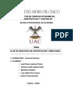 PLAN DE NEGOCIOS DE EXPORTACION Y MERCADEO