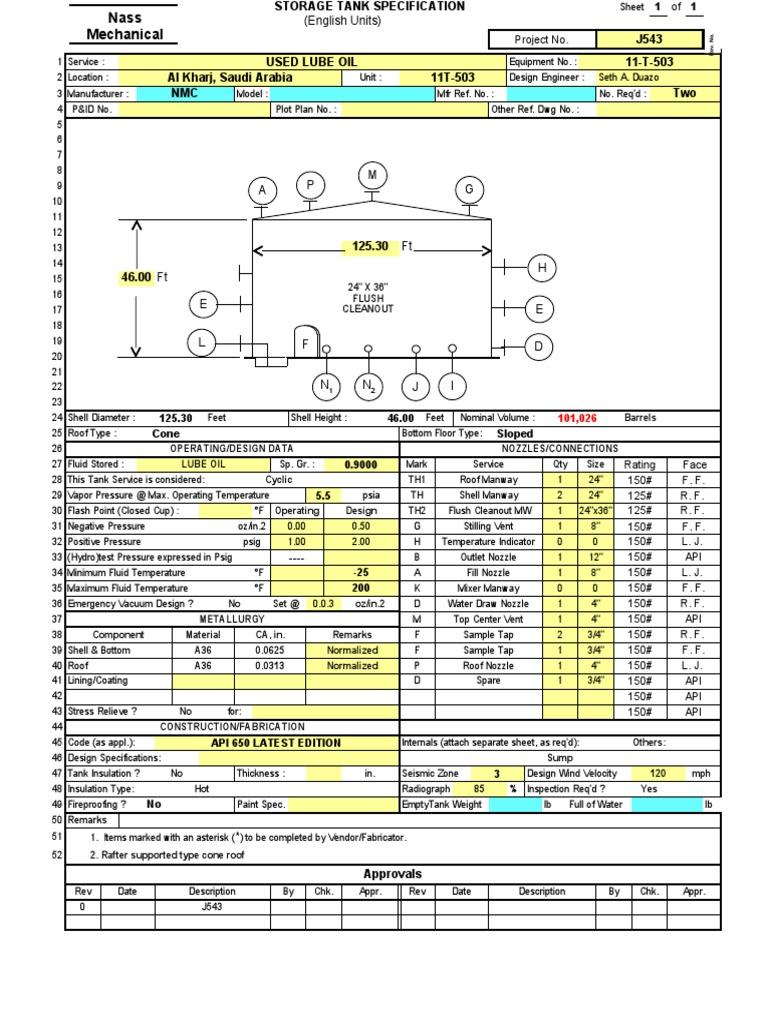 API 650 Tank Design 1   Nozzle   Pressure