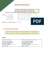 cours multiplier les nombres relatifs