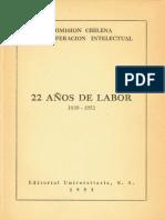 Comisión Chilena de Cooperación Intelectual, 22 Años de Labor - 1930-1952