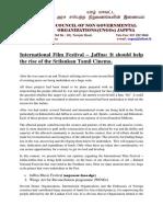 Jaffna Film Festival Press Released 2017