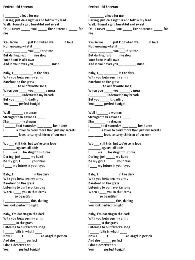Song   Perfect   Ed Sheeran   Tenses   PDF   Recorded Music   Pop ...