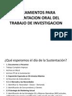 Lineamientos Para Sustentacion Oral Del Trabajo de Investigacion 17070