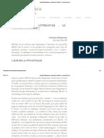 Dominique Maingueneau _ Linguistique Et Littérature_ Le Tournant Discursif
