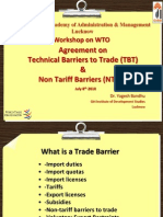 Agreement on Technical Barriers to Trade (TBT) & Non Tariff Barriers (NTB's)