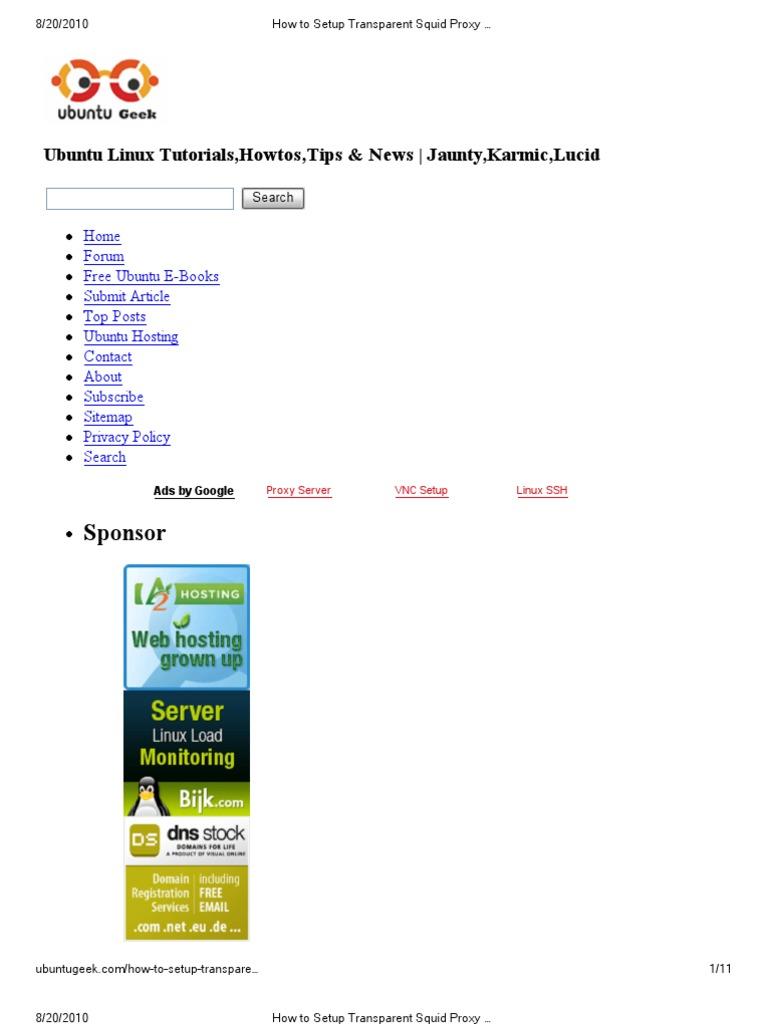 Ubuntu Geek | Proxy Server | Port (Computer Networking)