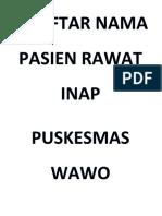 Daftar Nama Pasien Rawat Inap