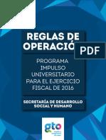 2016 SEDESHU Programa Impulso Universitario Reglas Operacion