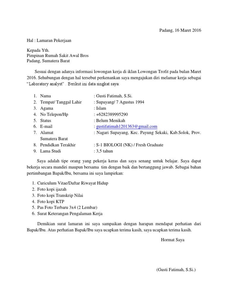 Surat Lamaran Kerja Rs Awal Bros