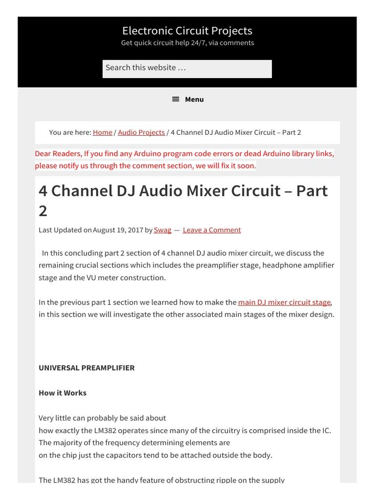 4 Channel Dj Audio Mixer Circuit Part 2 1 Headphones Amplifier Headphone Lifier Schematic