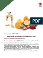 10.Ottobre 2013 Linee Guida Generali Per Alimentazione e Sport