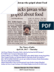 BSF Sacks Jawan Who Griped About Food SACKED