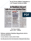 Foreign Companies to Produce Weapons & Weapon Systems in India