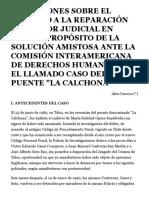"""REFLEXIONES SOBRE EL DERECHO A LA REPARACIÓN DEL ERROR JUDICIAL EN CHILE A PROPÓSITO DE LA SOLUCIÓN AMISTOSA ANTE LA COMISIÓN INTERAMERICANA DE DERECHOS HUMANOS EN EL LLAMADO CASO DEL PUENTE """"LA CALCHONA"""""""