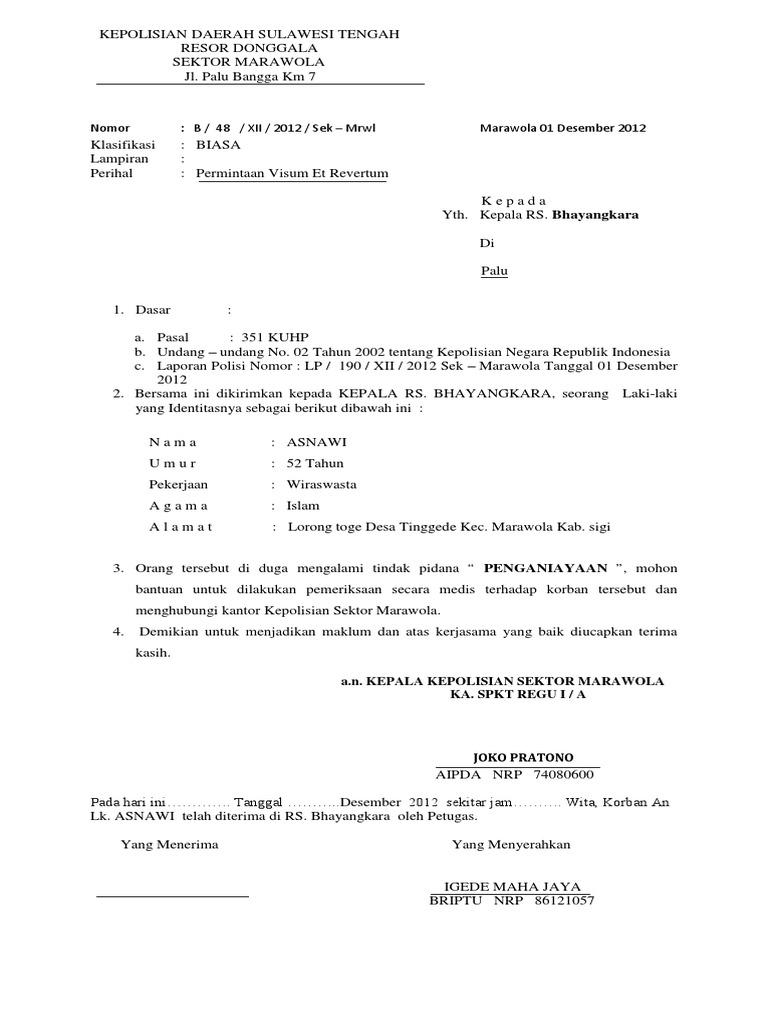 Contoh Surat Permintaan Visum